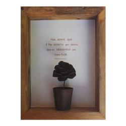Quadro poesia em madeira de demolição.