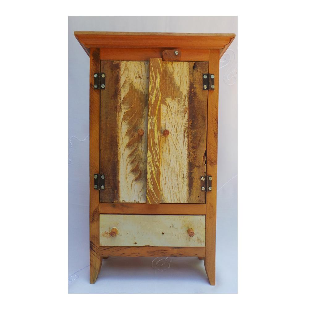 Mini armário em madeira de demolição rústica -> Armario Para Banheiro De Madeira Rustica